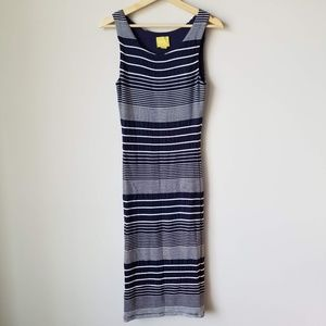 Anthropologie Maeve Blue White Striped Dress Small